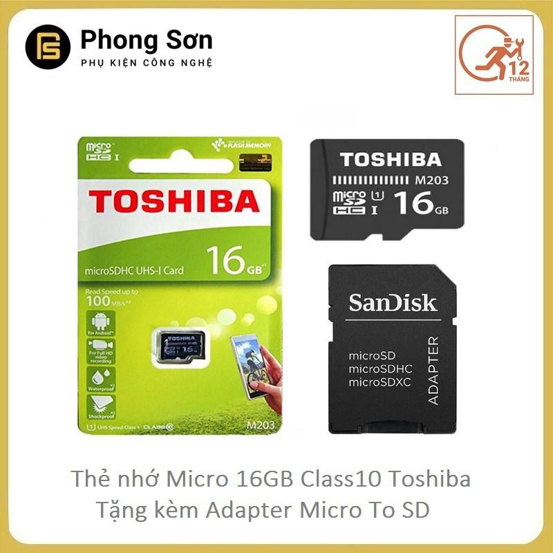 Thẻ nhớ Micro SDHC 16GB Class10 100mb/s Toshiba (Tặng kèm Adapter to SD) Tem FPT