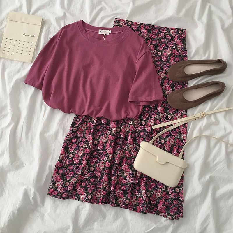 (Order) Set Áo Thun + Chân váy hoa nhí TÍM dài midi cực xinh