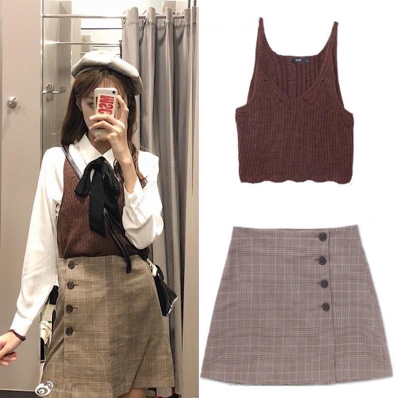Bộ Áo Dệt Kim Dài Tay Cổ Chữ V + Chân Váy Xinh Xắn Dành Cho Nữ