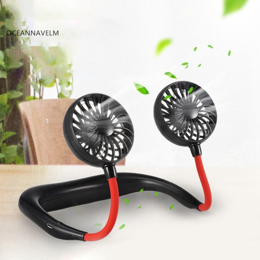●OC Outdoor Portable USB Rechargeable Neckband Dual Mini 3 Blade Cooling Fan Cooler