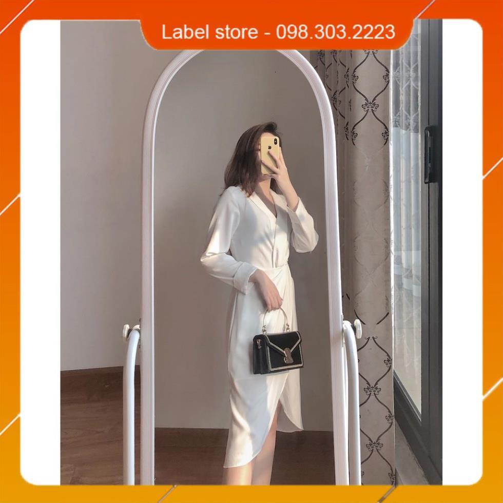 [FreeShip – Clip thật]  Váy trắng, đầm voan công sở kết hợp cổ đắp chéo phá cách