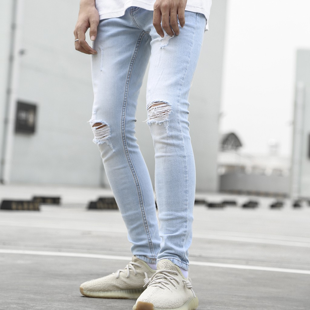Quần Jean Distressed Skinny Jeans In Mid Wash Xanh