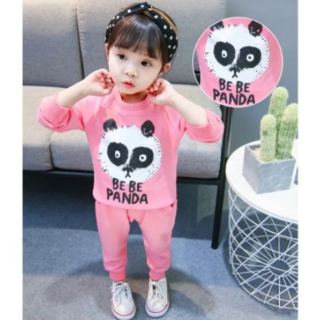 Bộ quần áo dài tay màu hồng qate27 cho bé gái
