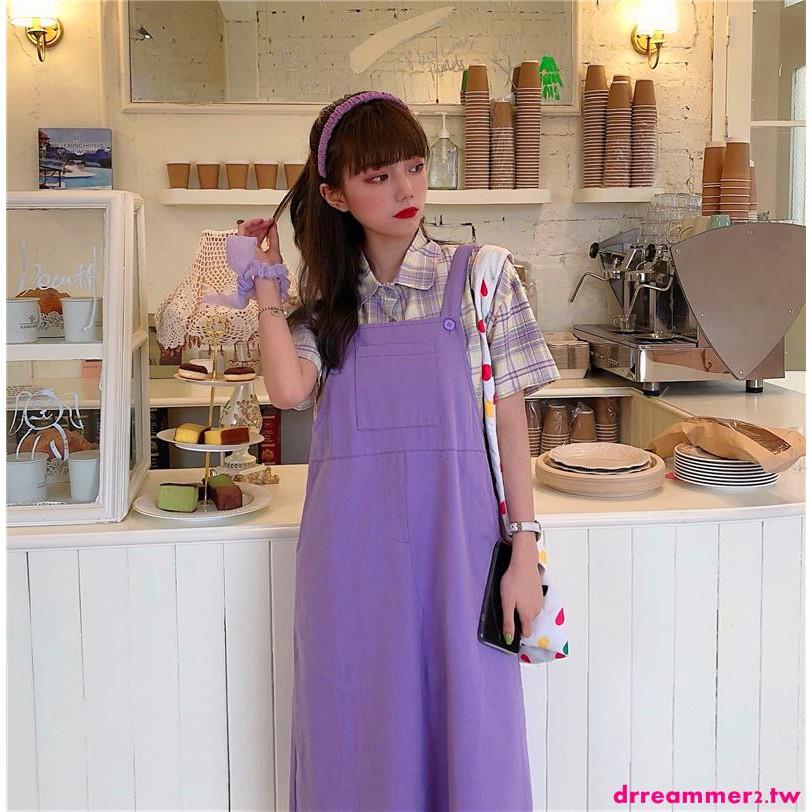 Set Áo Sơ Mi Tay Ngắn Phối Chân Váy Kẻ Sọc Caro Thời Trang Hàn Quốc