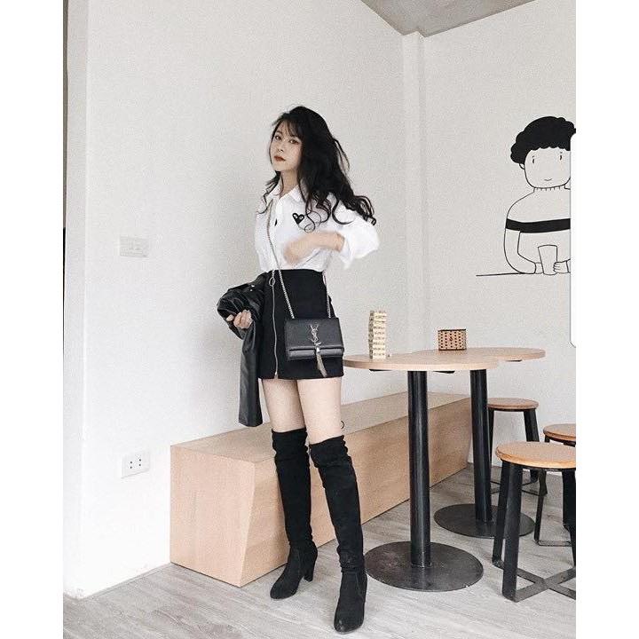 Chân váy đen khóa kéo tròn