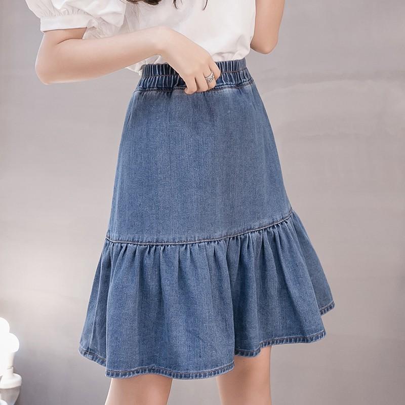 Chân Váy Denim Chữ A Phong Cách Hàn Quốc Size S - 5 Xl