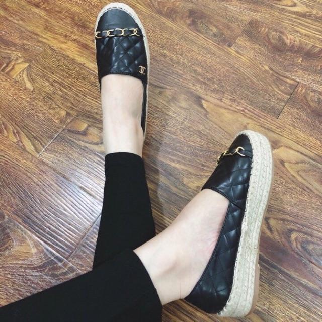 Giày lười mũi giày tròn đế cói 3p