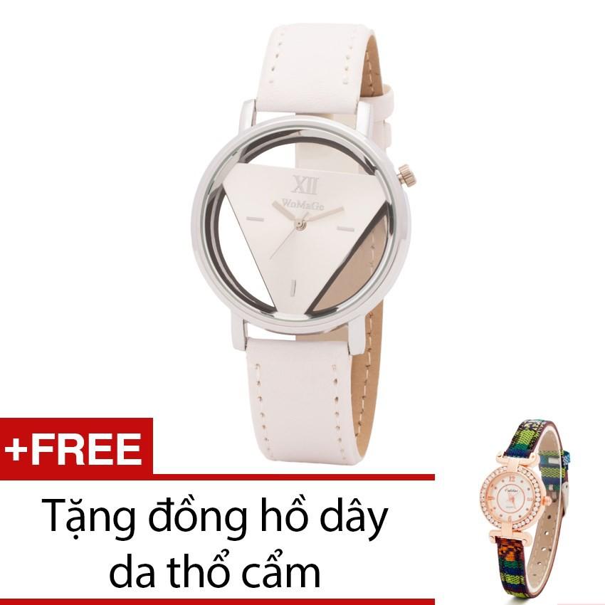Đồng hồ nữ Wilon dây da trắng tặng 1 đồng hồ thổ cẩm