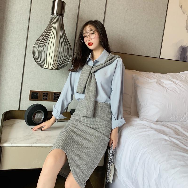 Set Áo Sơ Mi Dài Tay + Chân Váy Dài Xinh Xắn Thời Trang Dành Cho Nữ