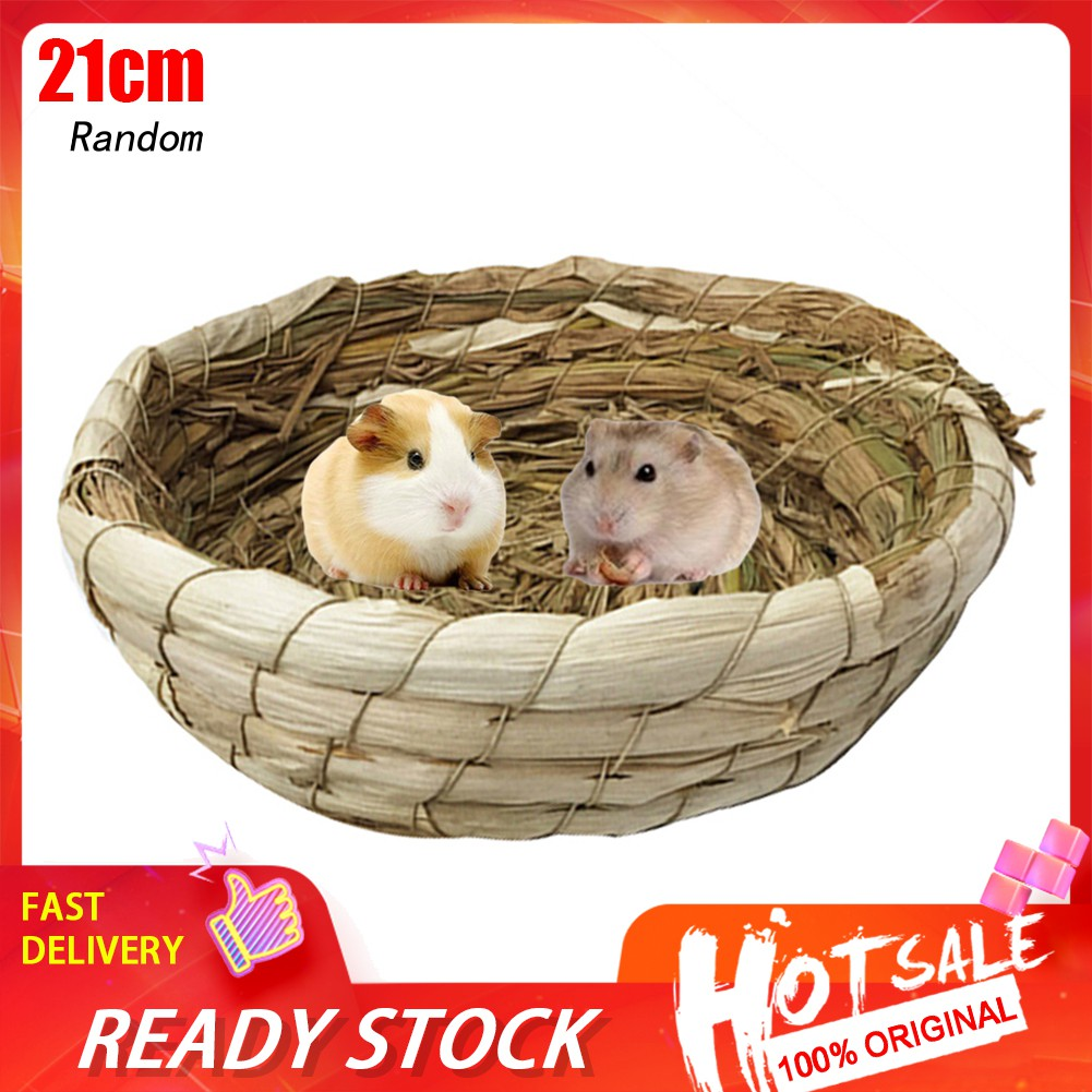 HHCWSmall Pet Hamster Rabbit Round Straw Grass Woven Nests Cage Bed House Chew Toy