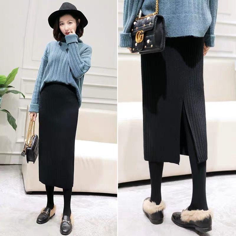 Chân Váy Dệt Kim Dáng Dài Ôm Hông Thời Trang Mùa Đông Cho Nữ