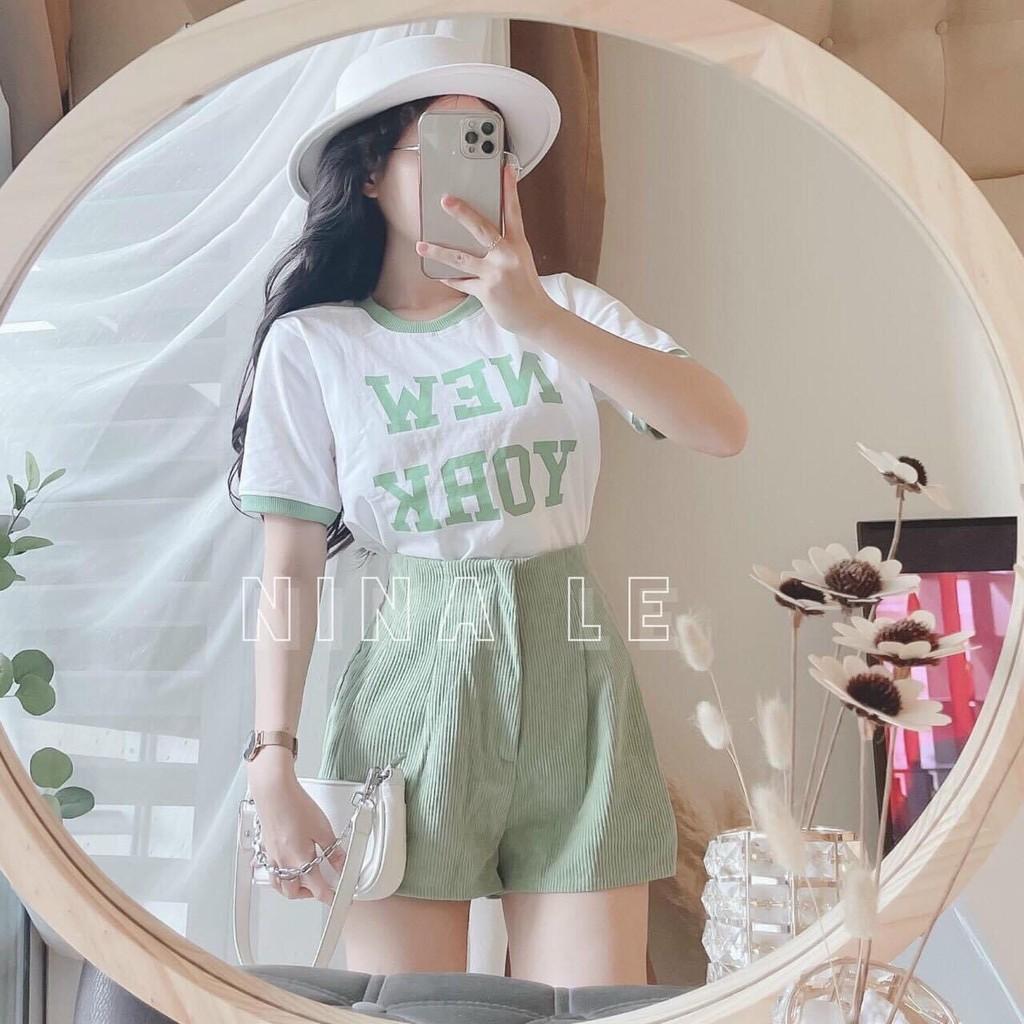 Set Áo Chữ New + Quần Tăm Nhung Xanh Siêu Hot