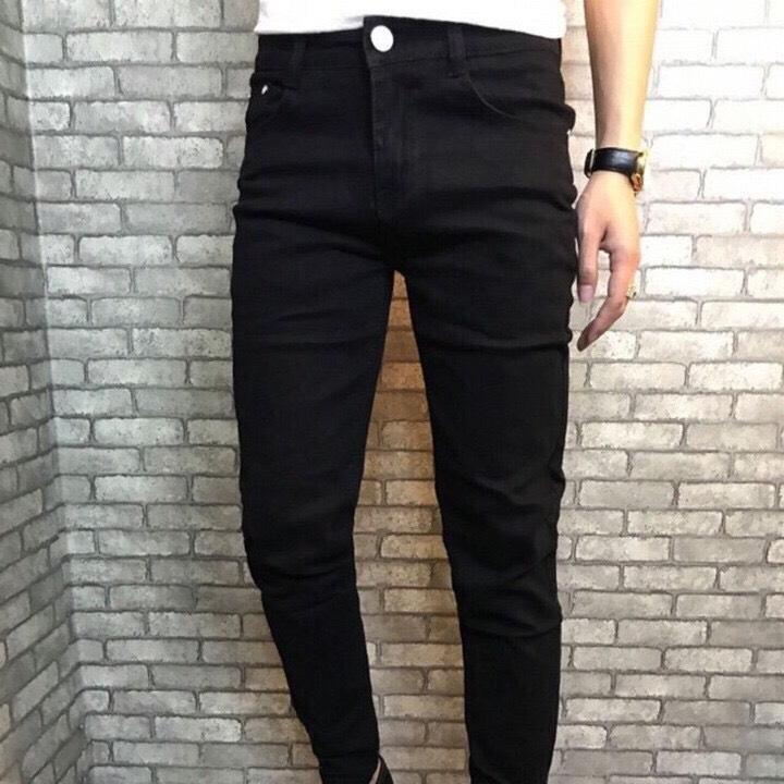 quần jean nam đen trơn ống côn hàng VNXK form Slim