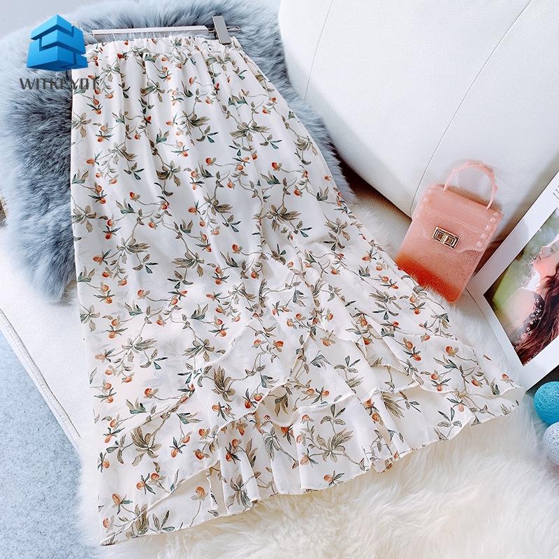 Chân váy lưng cao hoạ tiết hoa phong cách Hàn Quốc