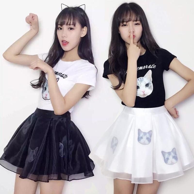 Set Áo Thun Ngắn Tay + Chân Váy Xinh Xắn Thời Trang Theo Phong Cách Hàn Quốc Cho Nữ