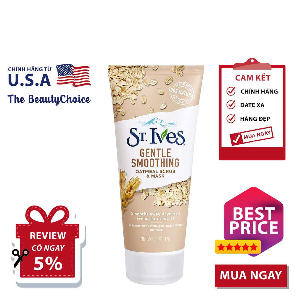 Mặt Nạ Tẩy Tế Bào Chết ST. IVES Gentle Smoothing Oatmeal (170g)