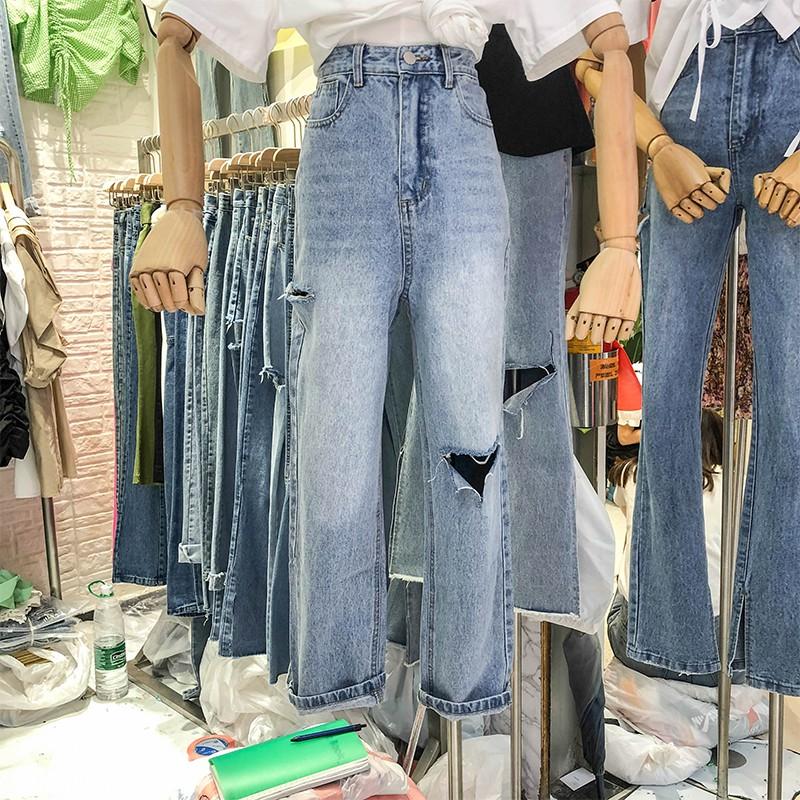 Quần Jeans Nữ Lưng Cao Dáng Rộng Rách Cá Tính
