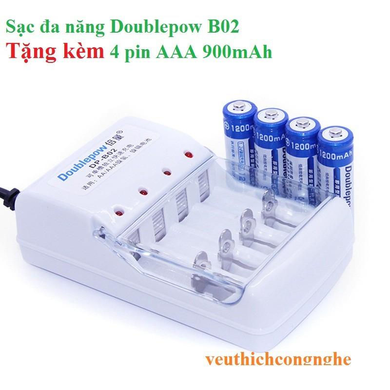 Combo bộ sạc pin đa năng Doublepow DP-B02 và 4 pin đũa sạc Doublepow AAA 900mAh