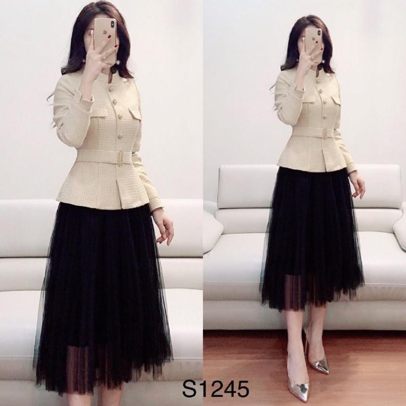 Set áo kate kết hợp chân váy voan S1245 Mie Design kèm ảnh thật