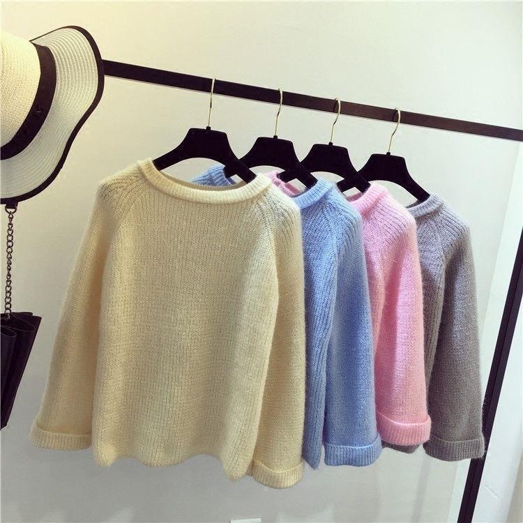 Bộ Áo Sweater Tay Cánh Dơi + Chân Váy Đáng Yêu Cho Nữ Kiểu Nhật Bản