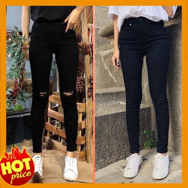 Quần jeans đen nữ cạp cao co dãn hàng loại 1