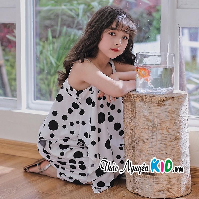 Set áo 2 dây kèm quần ống rộng cho bé gái chấm bi