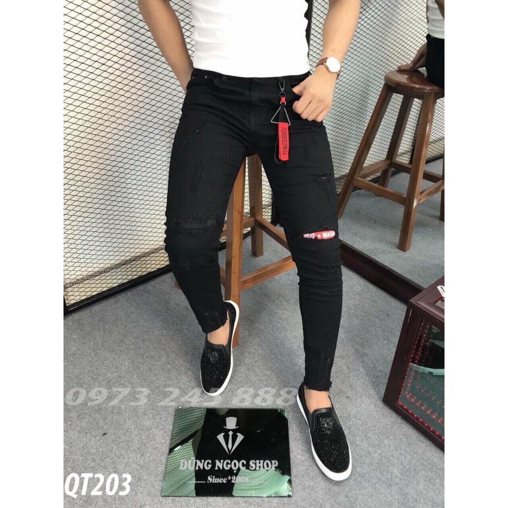 Quần jean nam cao cấp rẻ đẹp không phai màu,quần jean nam co giãn,quần jean nam rẻ đẹp,Quần bò nam mẫu mới body