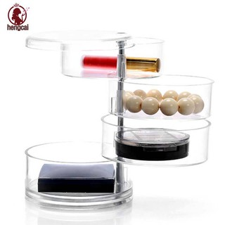 Multi-Layer Rotatable Transparent Cosmetic Case Acrylic Jewelry Cassette Desktop Storage Box