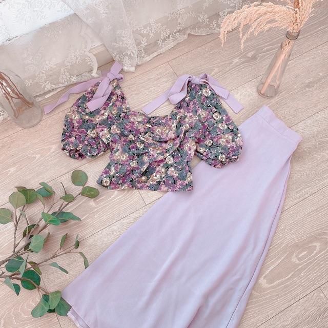 (Kèm ảnh thật) Set áo hoa tím nơ chân váy trơn