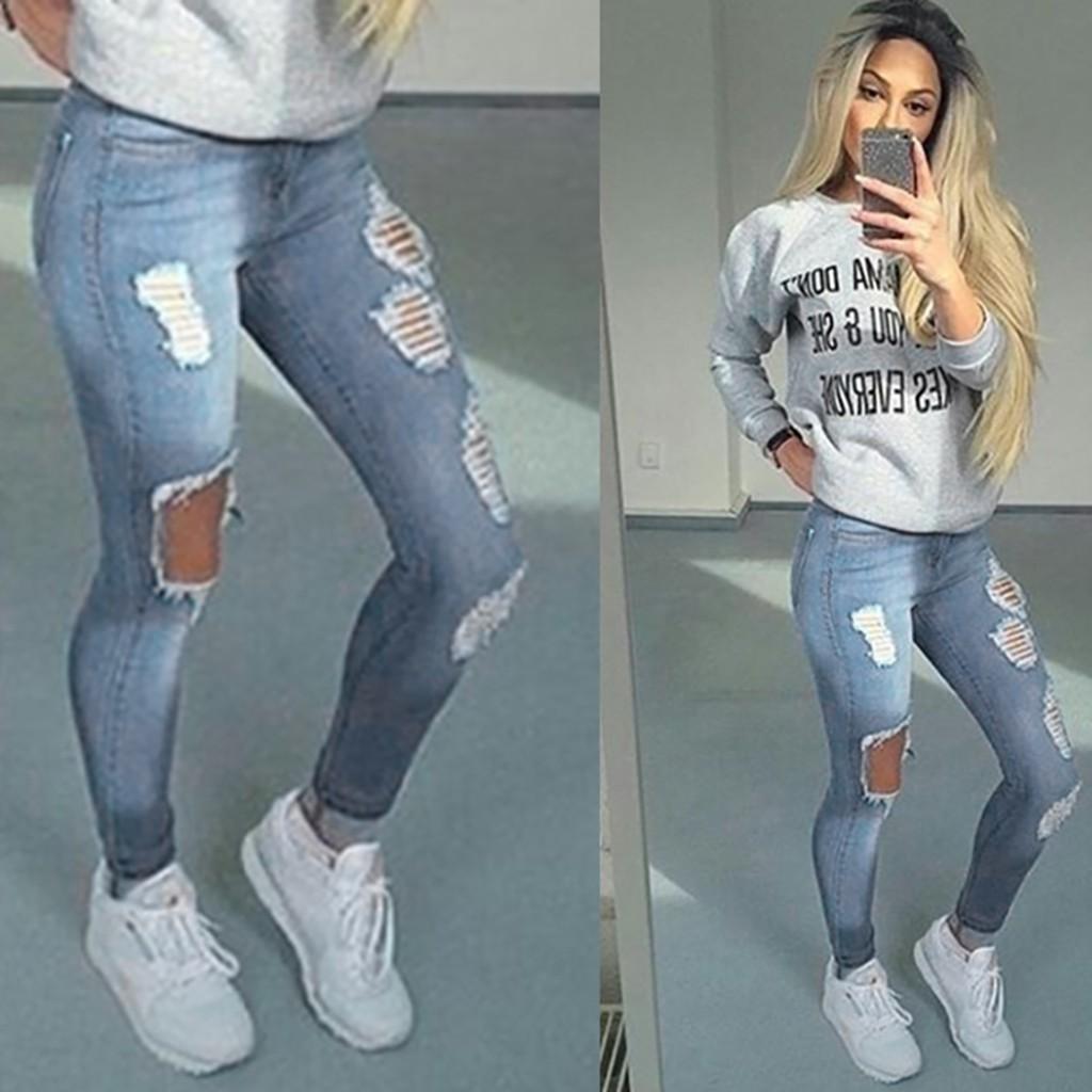 Quần jeans rách thiết kế ôm sát tôn dáng