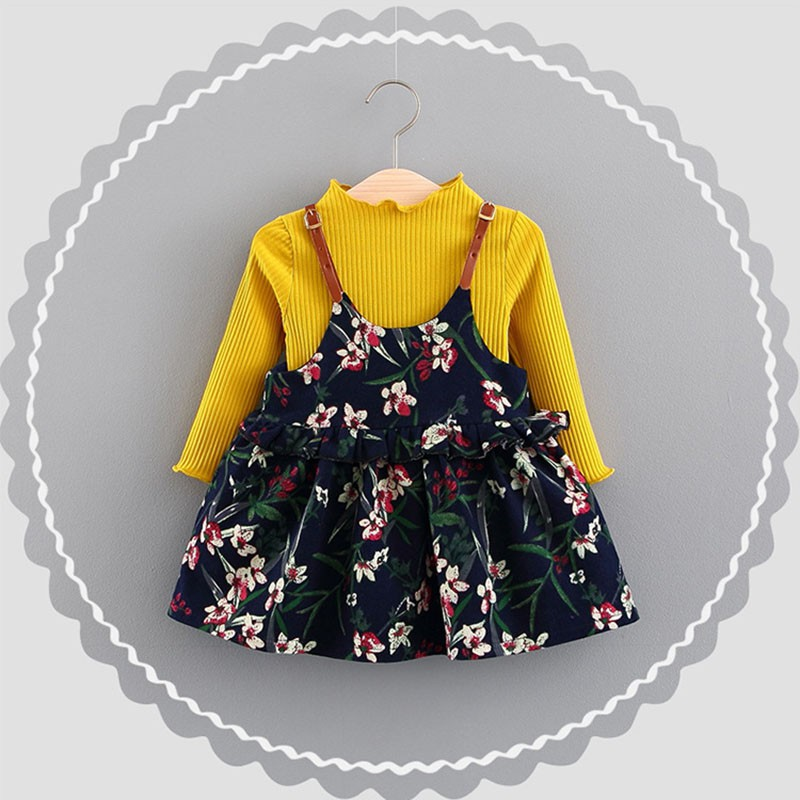 Set áo thun tay dài màu trơn phối chân váy yếm họa tiết hoa xinh xắn cho bé gái