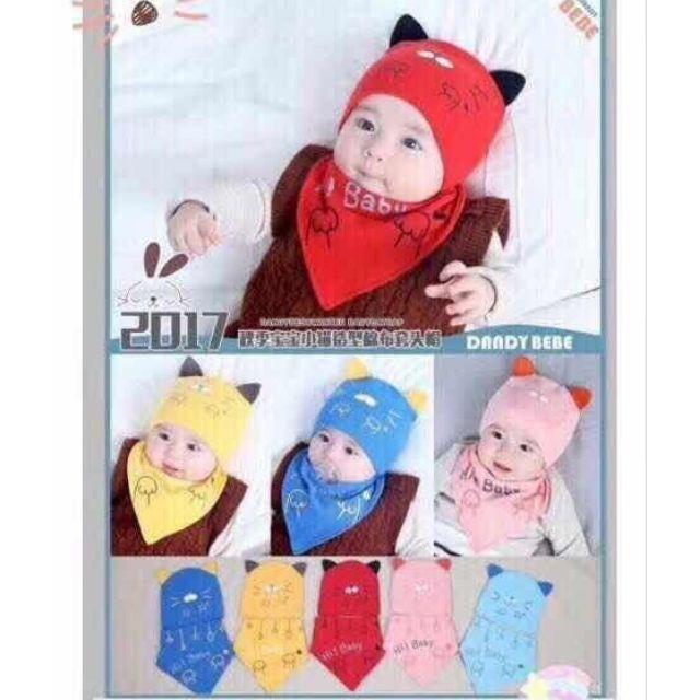 Set mũ kèm yếm cotton mèo xinh cho bé từ 0_12 tháng