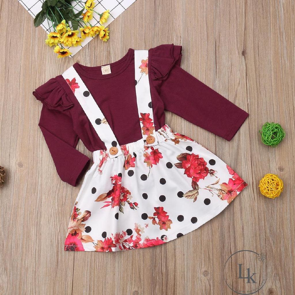 Set áo thun ngắn tay cổ tròn + chân váy xòe đáng yêu cho bé gái