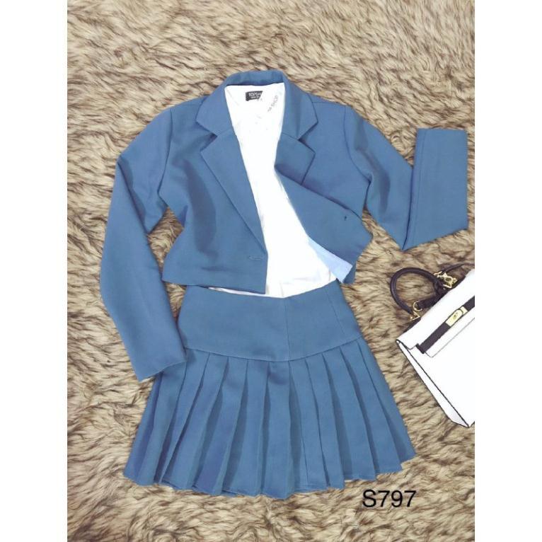 Set áo vest và chân váy xếp ly xanh S797 Mie Design kèm ảnh thật