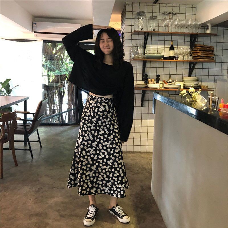 Chân Váy Dài Lưng Cao Họa Tiết Hoa Cúc Thời Trang 2020 Cho Nữ