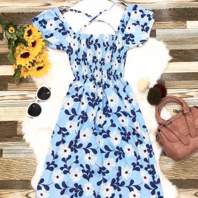 đầm maxi nhúng ngực hoạ tiết hoa xanh nhẹ nhàng