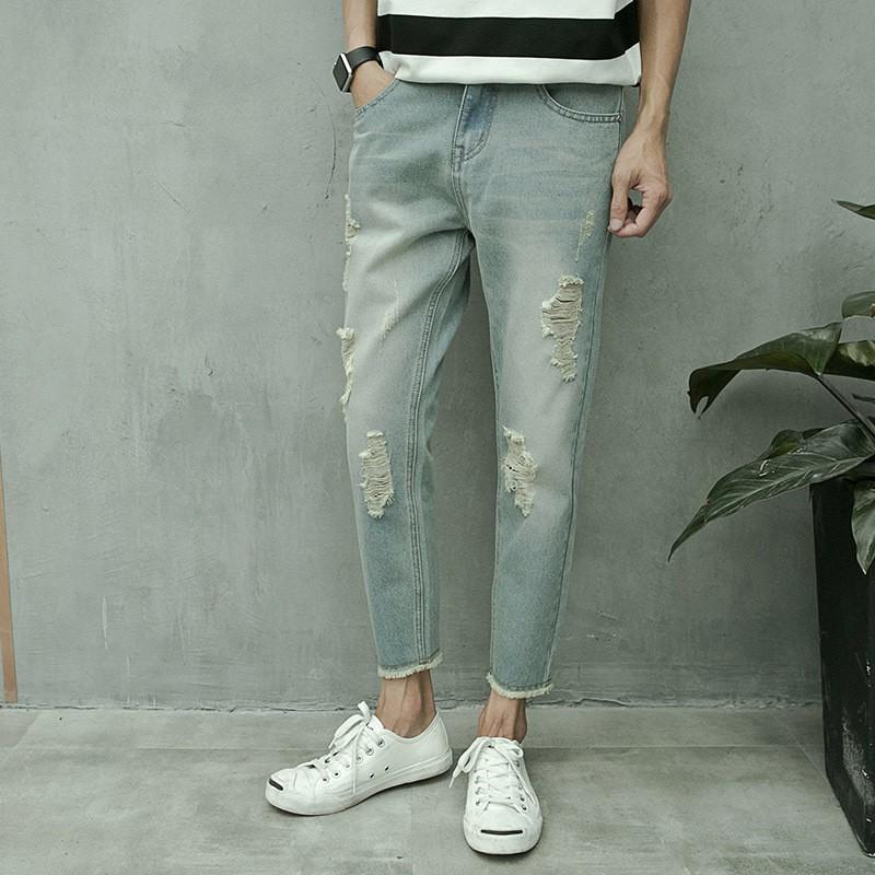 Quần Jeans Rách Gối Thời Trang Cho Nữ