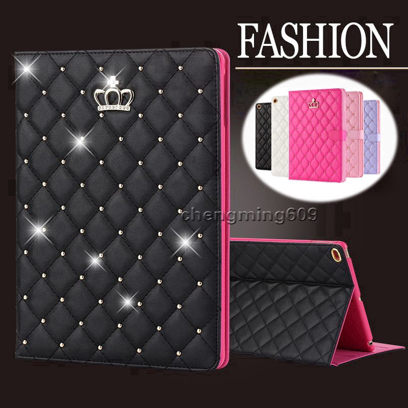 For iPad 9.7 2018 / 2017 Air Luxury Glitter PU Leather Smart Case Stand Cover
