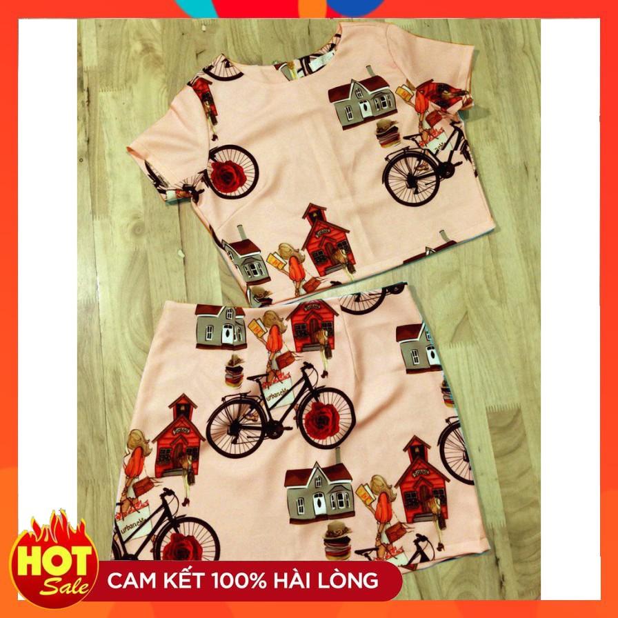 (sale giá sốc) Set áo croptop + chân váy in 3d hoạ tiết xe đạp