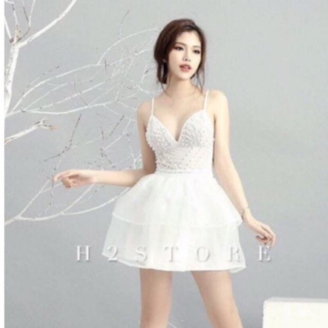Đầm dự tiệc dạ hội xòe ngắn đính kim sa quyến rũ, đầm trắng dự tiệc chất lượng cao giá rẻ