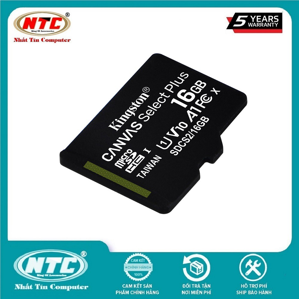 Thẻ nhớ microSDHC Kingston Canvas Select Plus 16GB U1 V10 A1 100MB/s (Đen) - Không Adapter