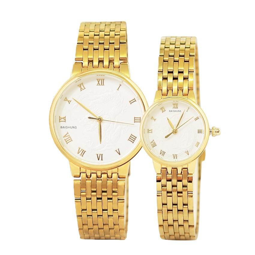 Đồng hồ đôi Baishuns dây kim loại vàng mặt chạm rồng
