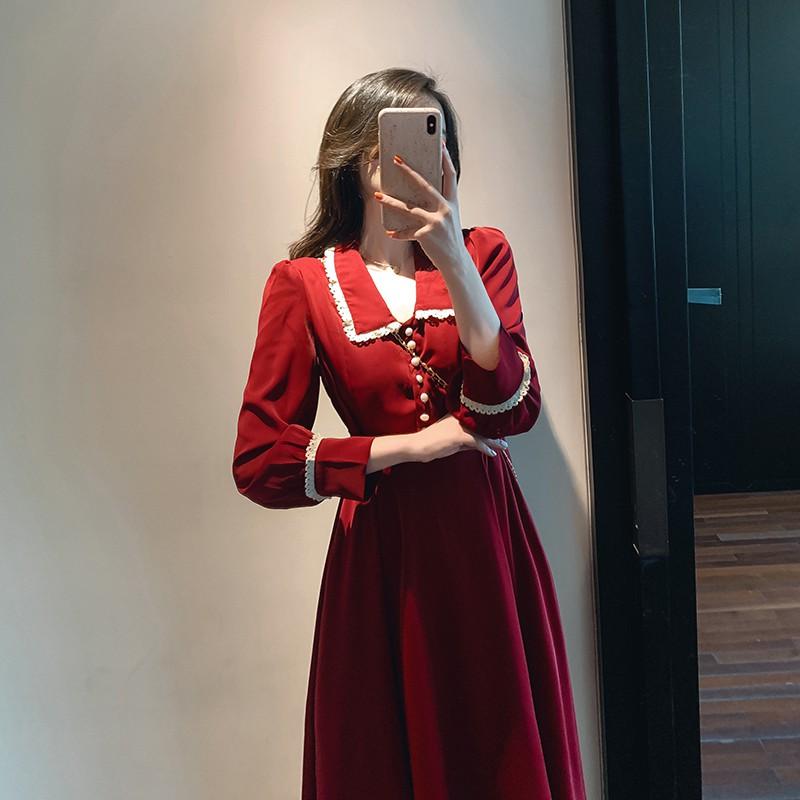 Váy đẹp 2020, váy đầm dự tiệc cổ búp bê phong cách Retro- Pháp, hàng Quảng Châu Cao Cấp