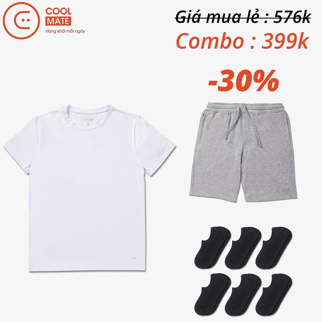 Combo quần short màu xám nhạt, áo thun trắng Cotton và 6 đôi tất lười Coolmate