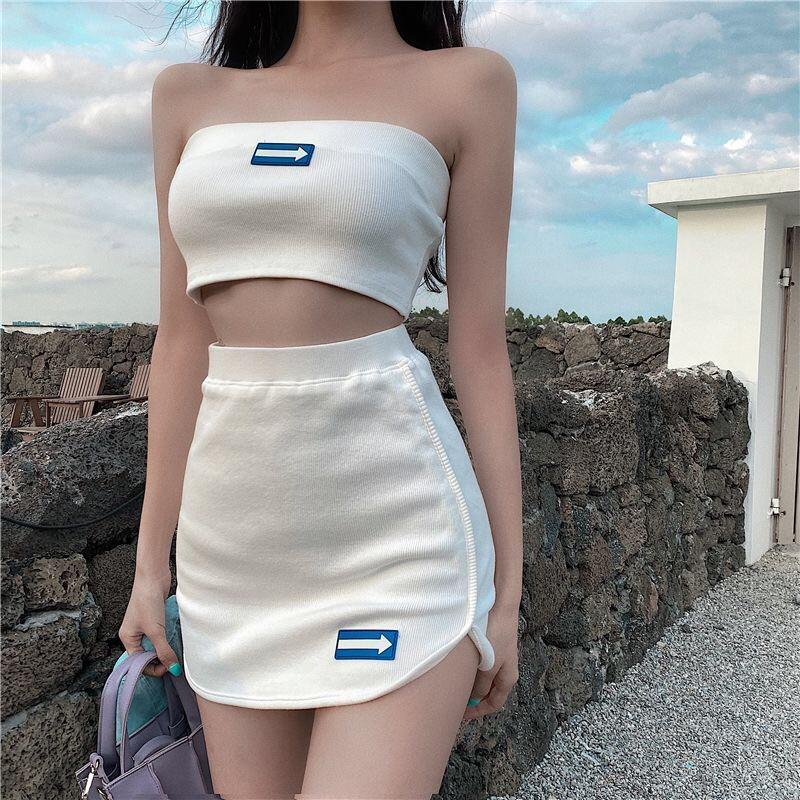 Bộ Áo Dệt Kim + Chân Váy Chữ A Lưng Cao Xinh Xắn Dành Cho Nữ