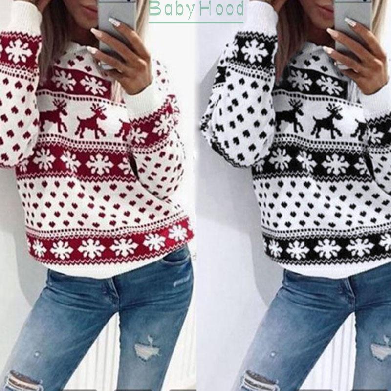 Womens Reindeer Snowflake Print Long Sleeve Crew Neck Jumper Sweater Pullover