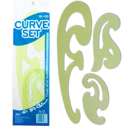 Thước vẽ kỹ thuật, Thước cong, Curve set Template Ruler QL-03 (bộ 3 cây)