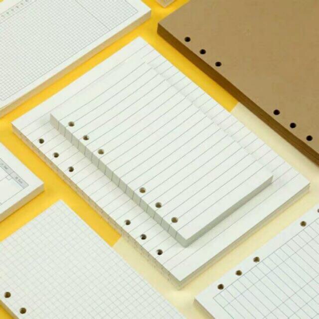 (Restock 13/7) Ruột giấy refill A4 B5 A5 A6 cho sổ bullet journal còng sổ ruột dot blank line sticker