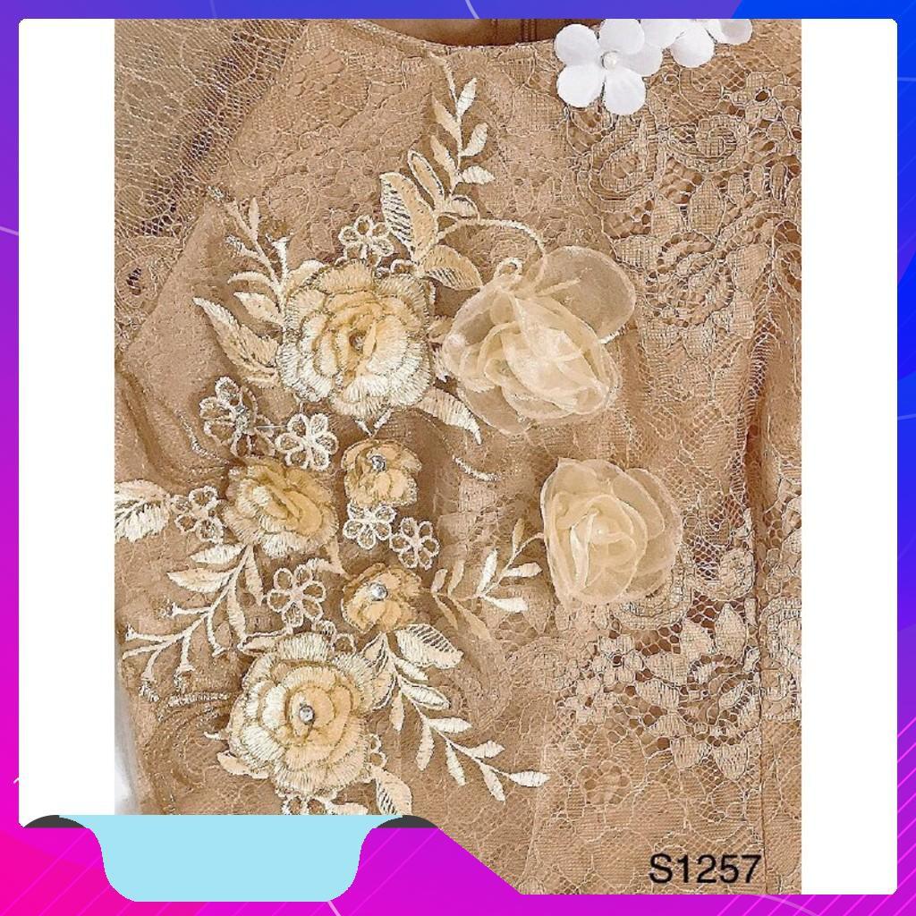 Set áo dài cách tân S1257 đính hoa tỉ mỉ Mie Design kèm ảnh thật [New]