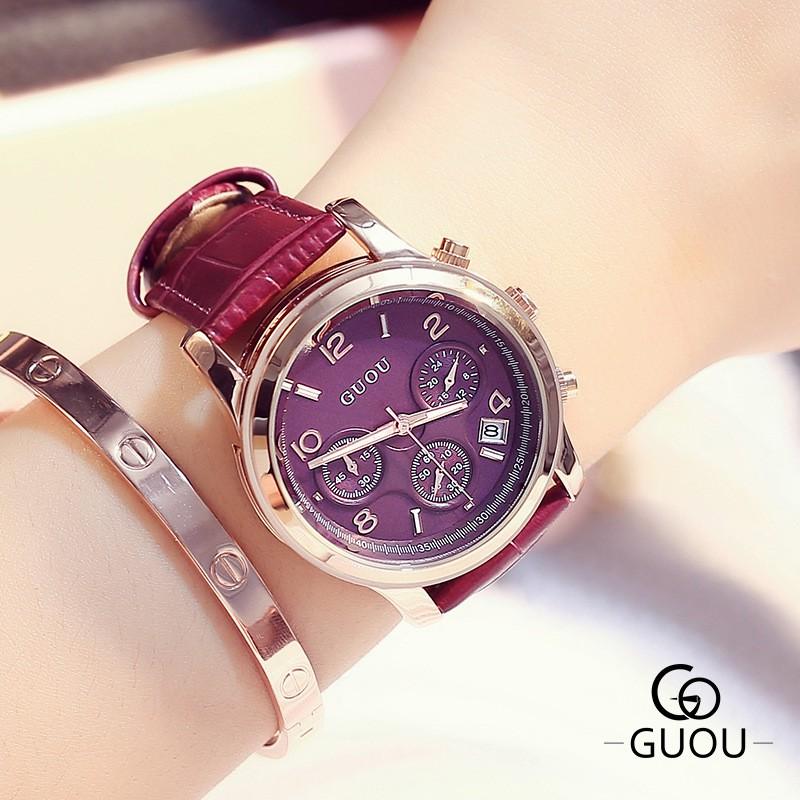 [Mã WTCHJAN giảm 20K ] (TẶNG HỘP +PIN+ MÓC KHÓA) Đồng hồ nữ CHÍNH HÃNG GUOU 8175 dây da cao cấp có 3 mặt đồng hồ